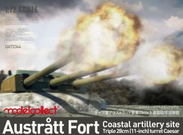 Austratt fort coastal artillery site - Ttriple 28cm turret Caesar · MOD UA72344 ·  Modelcollect · 1:72