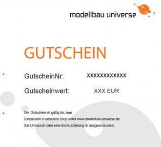 Gutschein 50,00 EUR · GSMU 50 ·  modellbau universe