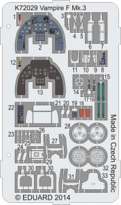 Vampire F Mk.3 Coloured photo-etched parts · MPM K72029 ·  MPM · 1:72