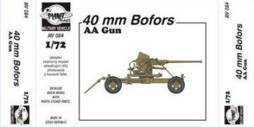 40mm Bofors AA Gun · PLM MV084 ·  Planet Models · 1:72
