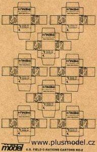 U.S. Feld C-Ration Kartons WW II, 8 Stück pro Bogen. · PM 35010 ·  plusmodel · 1:35