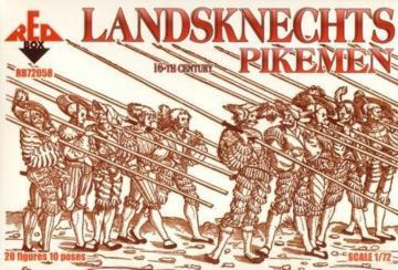 Landsknechts (Pikemen), 16th century · RDB 72058 ·  Red Box · 1:72