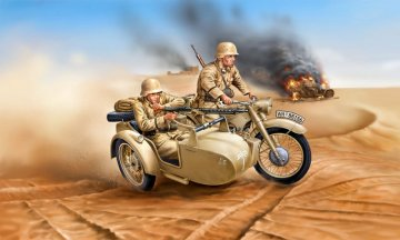 German Motorcycle R-12 with Sidecar · RE 03090 ·  Revell · 1:35