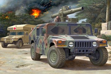 HMMWV M966 TOW Missile Carrier M997 Maxi Ambulance · RE 03147 ·  Revell · 1:72