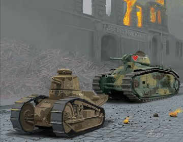 Char B.1 bis & Renault FT.17 · RE 03278 ·  Revell · 1:76