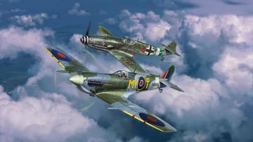 Combat Set Messerschmitt Bf 109 G-10 & Spitfire Mk.V · RE 03710 ·  Revell · 1:72