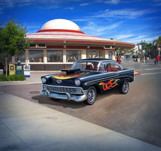 1956 Chevy Customs · RE 07663 ·  Revell · 1:24