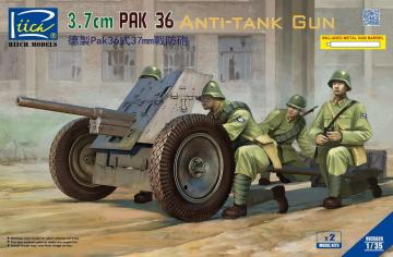German 3.7cm Pak 36 Anti-Tank Gun (2 Bausätze) w/Metal gun barrel · RII RV35026 ·  Riich Models · 1:35