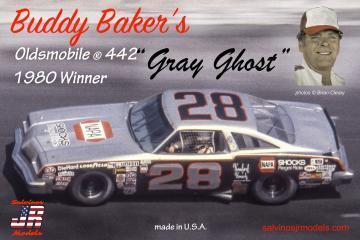 Biddy Baker`s Gray Ghost#28, Oldsmobile 442 1980 · JR 559806 ·  Salvinos JR Models · 1:25