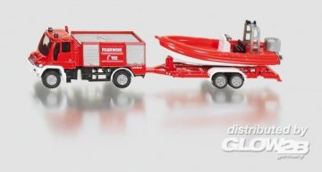 Unimog Feuerwehr mit Boot · SIK 1636 ·  SIKU