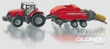 MF Traktor mit MF Ballenpresse · SIK 1951 ·  SIKU