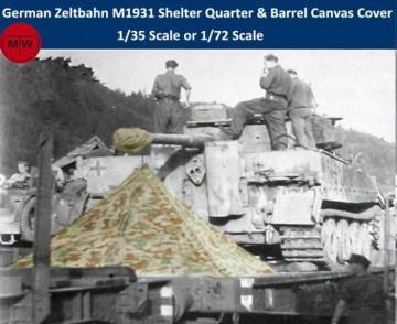 WWII German Zeltbahn M1931 Shelter Quarter & Barrel Canvas Cover Resin Kits · TMO A72010 ·  T-Model · 1:72
