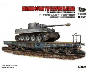 German 80Ton Type SSYMS Flatcar Schwerer Platformwagen (Tank not incuded) · TMO TK3501 ·  T-Model · 1:35