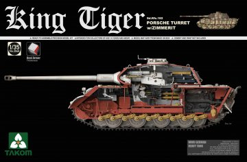 WWII German Heavy Tank Sd.Kfz.182 King Tiger Porsche Turret w/Zimmerit · TAK 2046S ·  Takom · 1:35