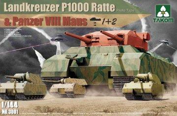 Landkreuzer P1000 Ratte (Prototype) & Panzer VIII Maus · TAK 3001 ·  Takom · 1:144