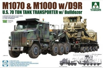 U.S. M1070 & M1000 w/D9R 70 Ton Tank Transporter w/Bulldozer · TAK 5002 ·  Takom · 1:72