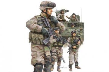 Modern U.S. Army Armor Crewman & Infantry · TRU 00424 ·  Trumpeter · 1:35