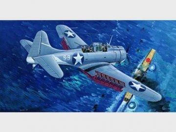SBD-3 Dauntless Midway US Navy · TRU 02244 ·  Trumpeter · 1:32