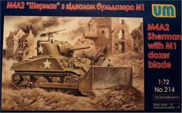 Tank M4A2 with M1 Dozer Blade · UM 214 ·  Unimodels · 1:72