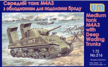 Tank M4A3 with Deep Wading Trunks · UM 216 ·  Unimodels · 1:72