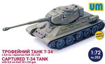 T-34 captured tank with 8,8 cm KwK 36L/36 gun · UM 252 ·  Unimodels · 1:72