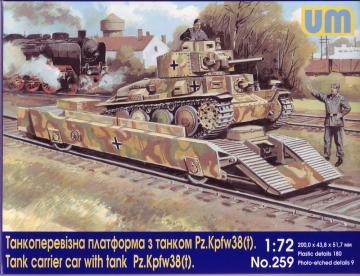Tank carrier car with Pz.Kpfw. 38(t) · UM 259 ·  Unimodels · 1:72