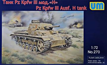 Pz.Kpfw III Ausf.H German tank · UM 270 ·  Unimodels · 1:72