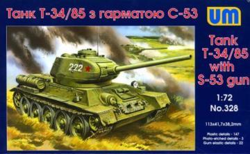 T-34/85 with S-53 gun · UM 328 ·  Unimodels · 1:72