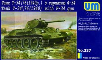 Tank T-34/76 (1940) with gun F-34 · UM 337 ·  Unimodels · 1:72