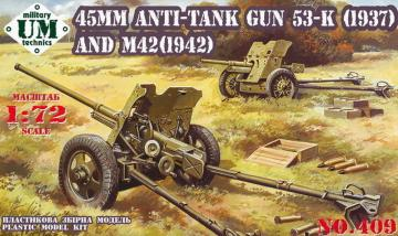 45mm Antitank guns 53-K (1937) and M42 (1942) · UM 409 ·  Unimodels · 1:72