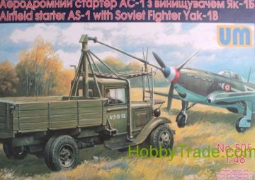 Airfield starter AS-1 with Soviet fighter · UM 505 ·  Unimodels · 1:48