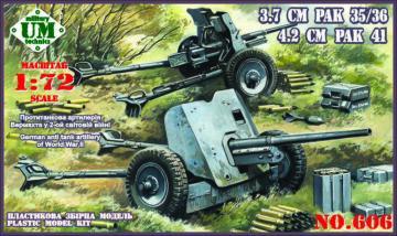 German Antitank guns 3.7cm PAK 35/36 and 4.2cm PAK 41 · UM 606 ·  Unimodels · 1:72