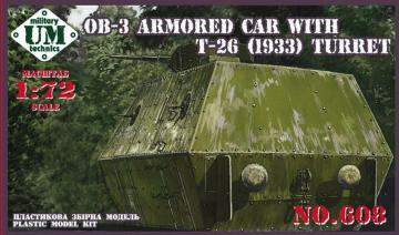 OB-3 Armored carriage with T-26 (1933) turret · UM 608 ·  Unimodels · 1:72