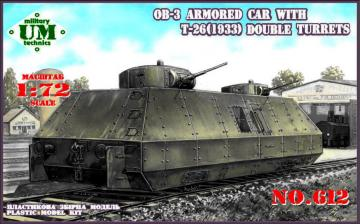 OB-3 armored railway car with two T-26 · UM 612 ·  Unimodels · 1:72