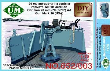 Oerlikon 22mm/70 (0,79´´) AA gun mark 10 · UM T652003 ·  Unimodels · 1:72