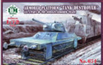 Armored Platform Tank Destroyer (as a part of the german armored train) · UM T674 ·  Unimodels · 1:72