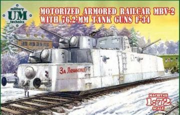 MBV-2 motorized armored railcar w.76,2mm Tank guns F-34 · UM T677 ·  Unimodels · 1:72