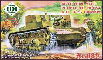 AT-1 Soviet artillery self-propelled gun, rubber tracks · UM T689 ·  Unimodels · 1:72