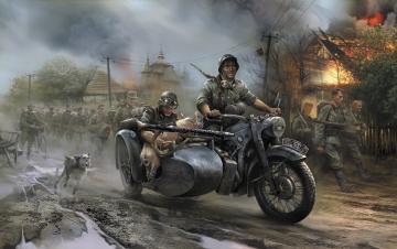 Germ.WWII Sidecar R12+crew · ZV 3607 ·  Zvezda · 1:35