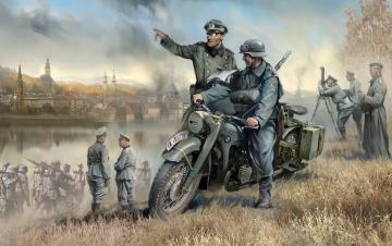Germ.WWII Solo Motorrad R12 m. Figuren · ZV 3632 ·  Zvezda · 1:35