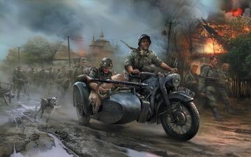 WWII Deutsches Motorrad R-12 · ZV 6142 ·  Zvezda · 1:72