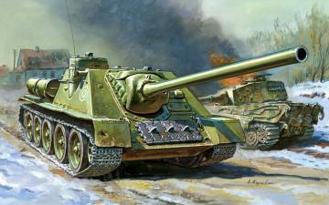 Self-propelled Gun SU-100 · ZV 6211 ·  Zvezda · 1:100