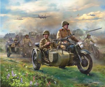 Soviet Motorcycle M-72 w/sidecar & crew WWII · ZV 6277 ·  Zvezda · 1:72