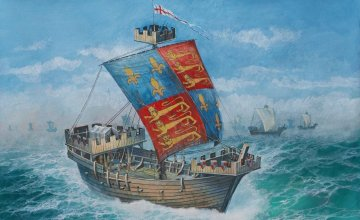 English Medieval Ship · ZV 9038 ·  Zvezda · 1:72
