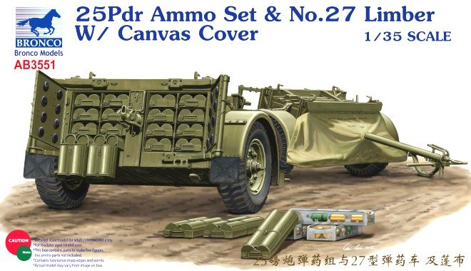 British No.27 Limber with 25pdr Ammo - Bronco Models - BRON AB3551