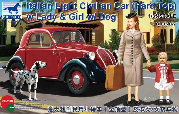 ltalina Light Civil Car with Lady, Girl and Dog - Bronco Models - BRON CB35167