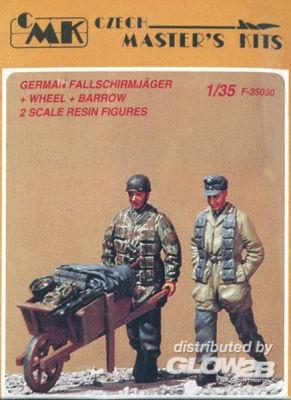 Deutsche Fallschirmjäger mit Schubkarre WW II 2 St.