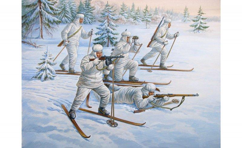 Sovietische Skifahrer
